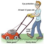 A teenager wears recommended clothing and safely mows the lawn.